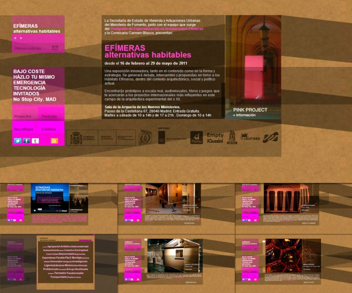 Diseño y Montaje página para Efímeras Alternativas Habitables