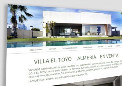 Villa el Toyo-Desarrollo de microsite