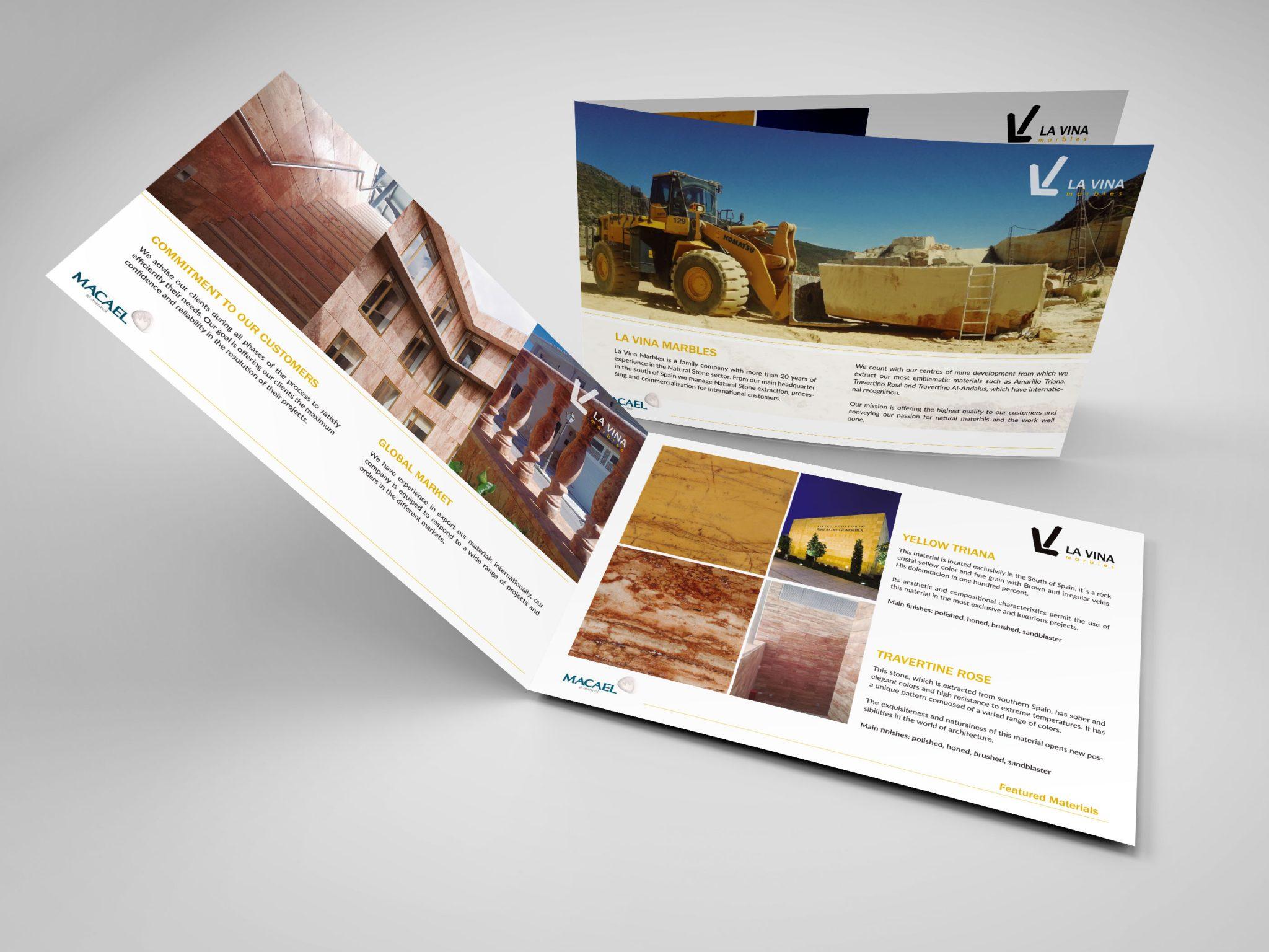 Diseño Catálogo para LA VINA Marbles