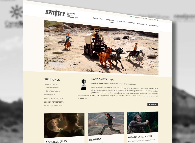 Diseño web para Almería Western Film Festival por Realego Oficina Creativa