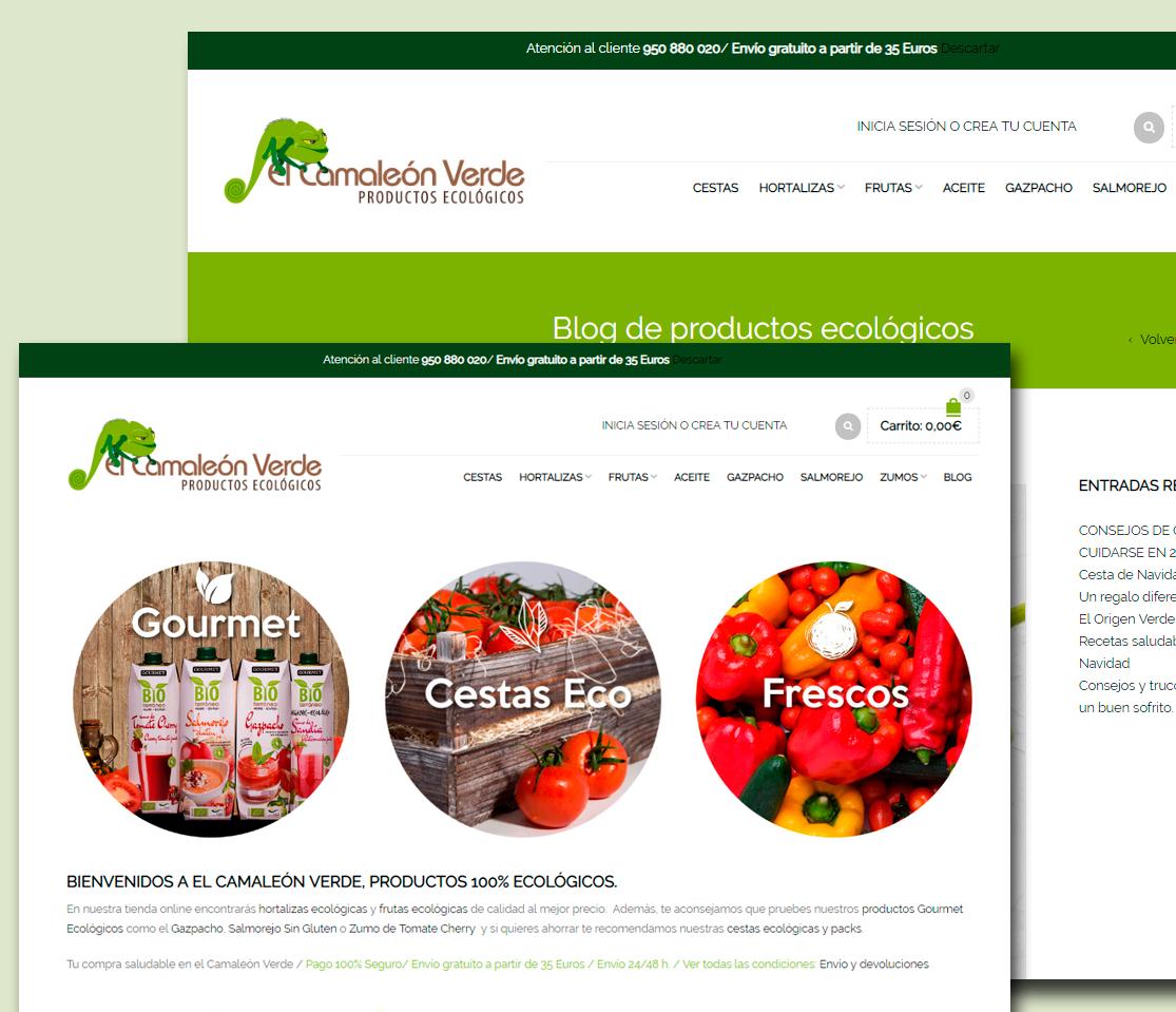Rediseño tienda online para El Camaleón Verde